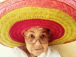 old woman staring at you