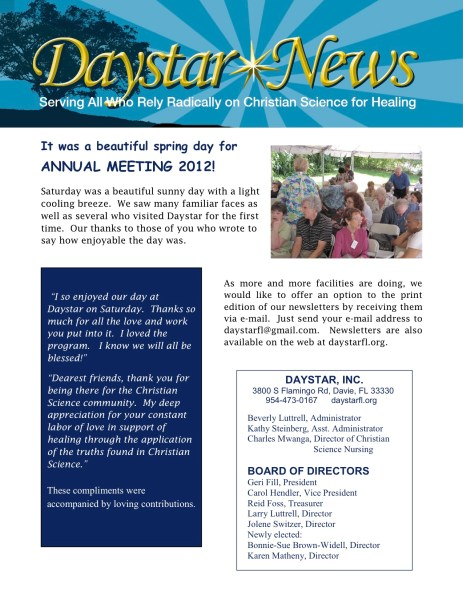 ANNUAL MEETING 2012 Newsletter