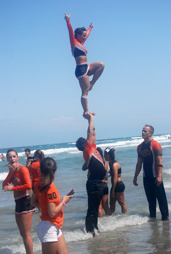 NCAA Cheerleading Competition - Acrobatics on Daytona Beach