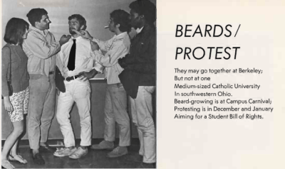 Image from yearbook showing students protesting for a Student Bill of Rights at the University of Dayton by growing beards.