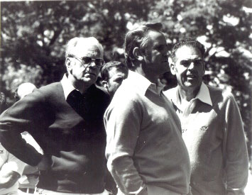 Image of President Gerald Ford, Hall of Fame coach Don Shula, and Hall of Fame quarterback Otto Graham Jr. at Bogie Busters Golf Tourney in Dayton, Ohio, late 70's.