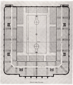 Image which shows the original floor seating plan for the University of Dayton fieldhouse.