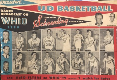 Image of an advertisement for both radio and television for the Dayton Flyers which shows the team, coach, and the commentators.