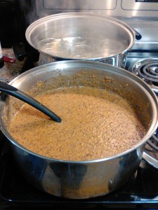 Making the batch of mustard for the Ohio Signature Food Contest in our extended-stay hotel room