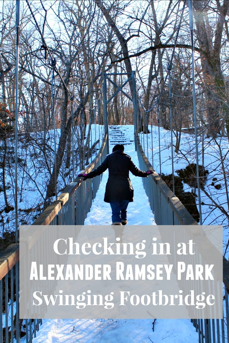 Checking in at Alexander Ramsey Park Swing Bridge with #CheckpointMN.