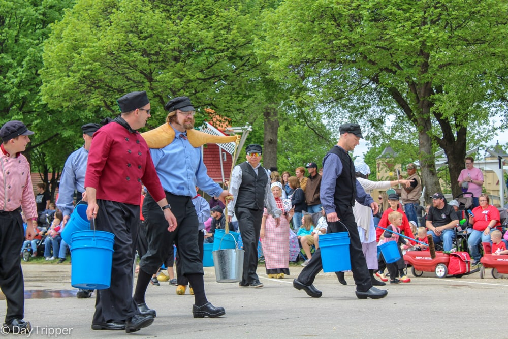 Buckets for washing the streets at the Orange City IA Tulip Festival