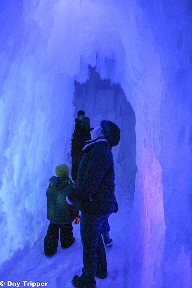 Looking up at Ice Castles in Excelsior