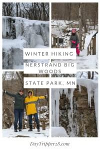 Winter Hiking at Nerstrand Big Woods State Park, Minnesota Hiking #Winter #FrozenFalls #Waterfall
