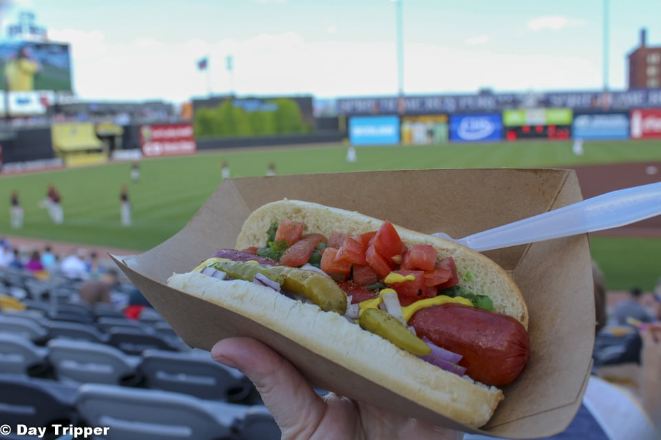 Eating a Chicago Dog at a St Paul Saints Game