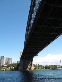 View under Sydney Harbour Bridge from cruise boat, March 2014