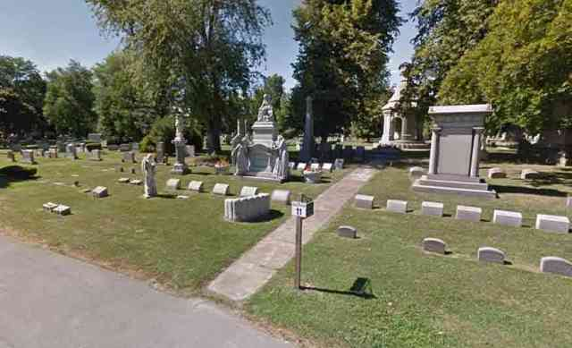 Rochester-Area Roadside Attractions - Forest Lawn Cemetery in Buffalo NY Deathbed Scene in Marble Blocher Tomb