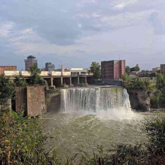 High Falls Rochester NY Genesee River east-side waterfall view