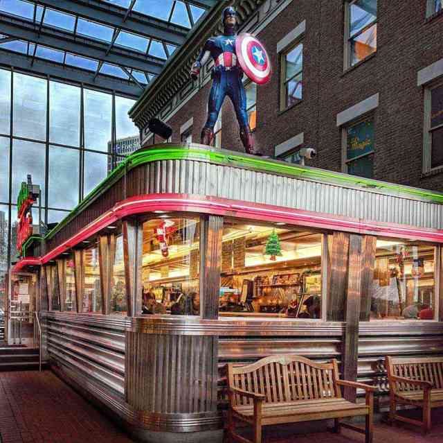 Dining car diners: Strong Museum of Play Bill Grays Skyliner Diner exterior