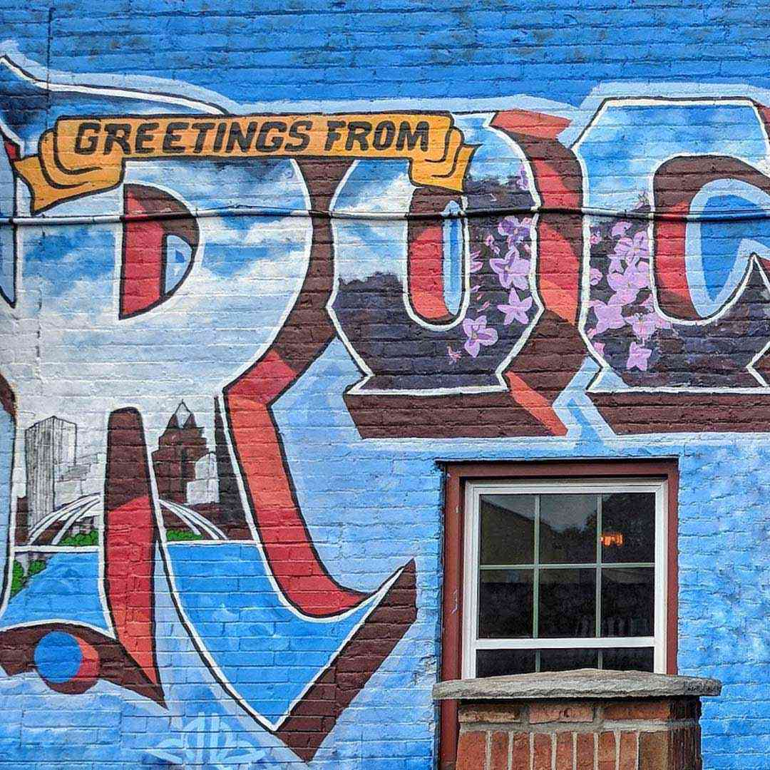 public wall art greetings from Rochester