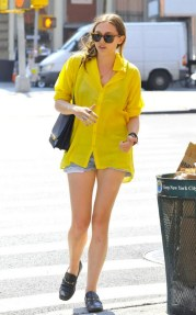 Olsens-Anonymous-Blog-Elizabeth-Olsen-Sunglasses-Sheer-Yellow-Button-Up-Shirt-The-Row-Bag-Loafers