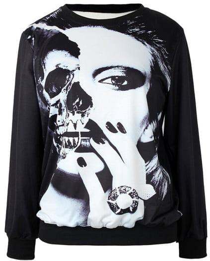 Beauty Skull Print Sweatshirt - US$25.99