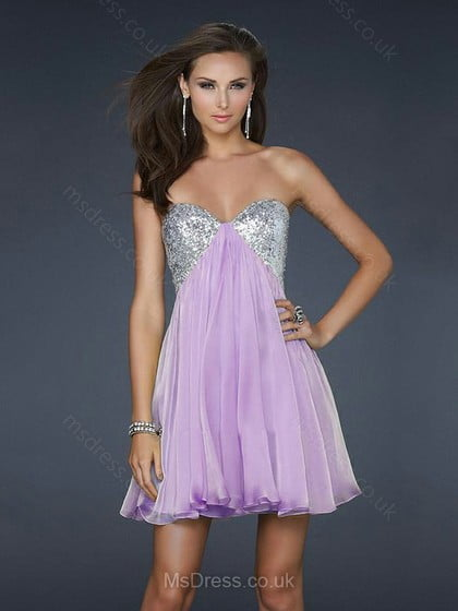 Empire Sweetheart Chiffon Short/Mini Sequins Homecoming Dresses