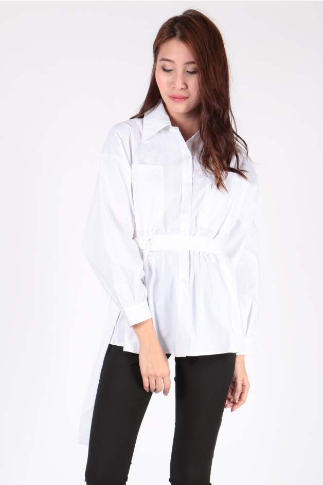 Tie Waist Sleeve Shirt (White) - SGD$ 29.00 (Also Available in Black)