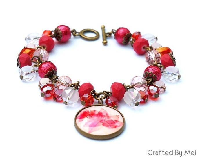 red peach white beads bracelet