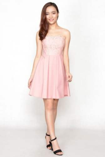 Dolmace Lace Tube Dress - Pink
