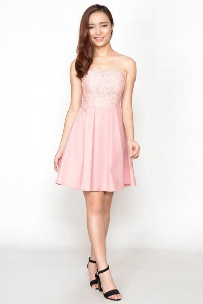 Dolmace Lace Tube Dress - Pink