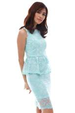 High neck embroidered peplum midi dress (Mint)