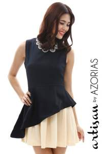 Contrast bias peplum overlay dress (Navy)