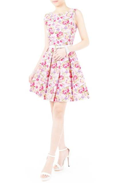 Violet Hydrangeas And Roses Flare Dress