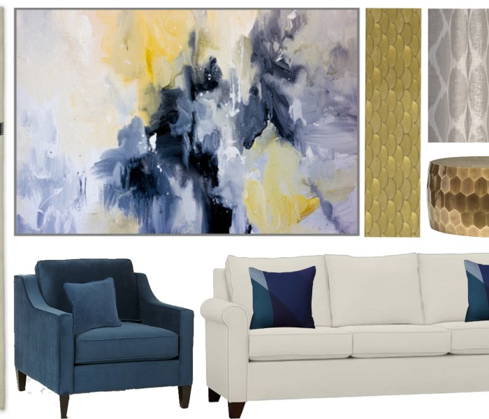 Shop the Look- Navy and Gold Contemporary Living Room