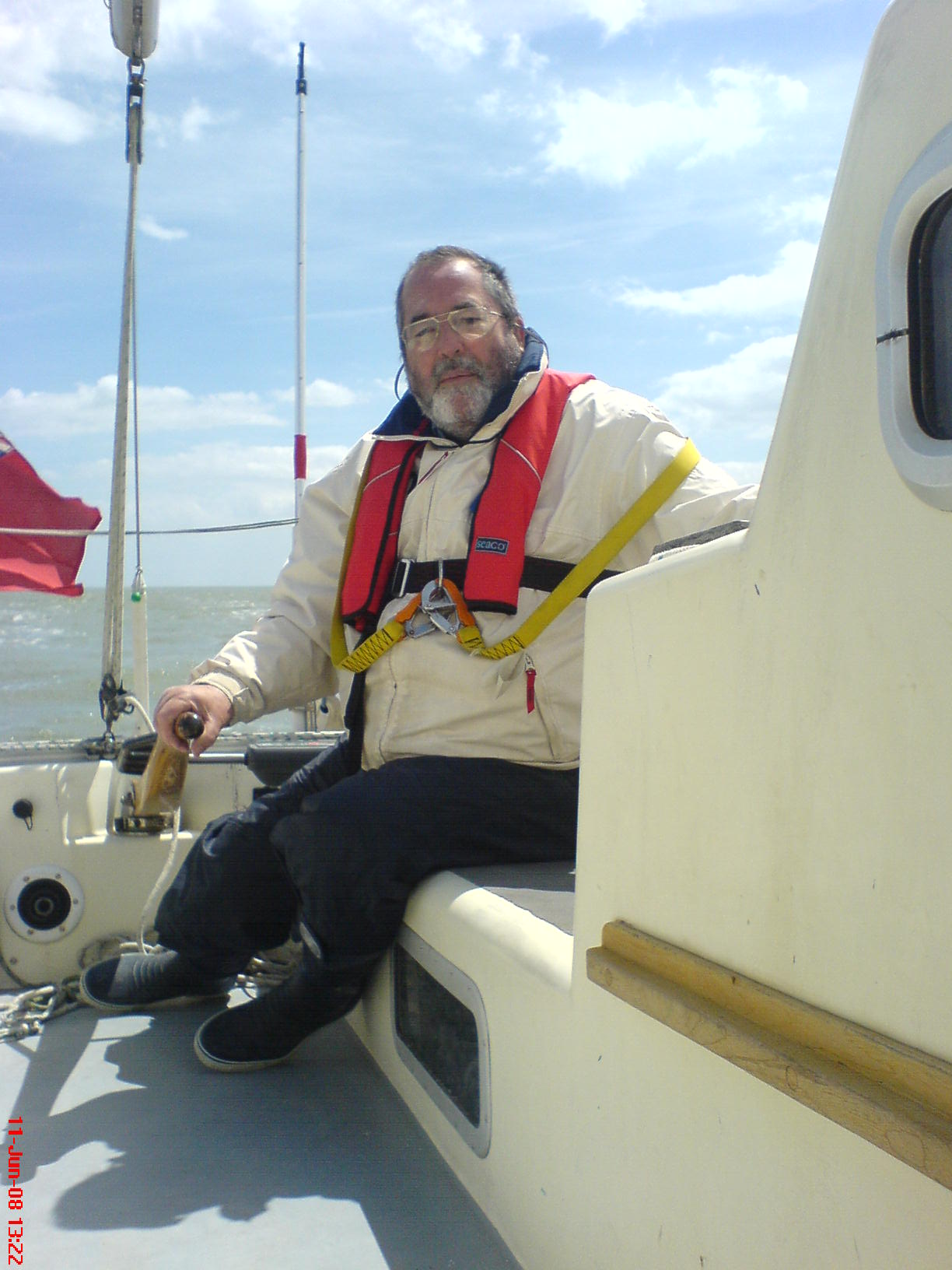 Mike at helm crossing Thames Estuary, Ramsgate to Harwich.