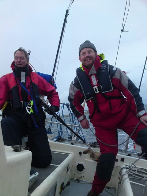 Henry (left) and Graham (joined Lochinver) enjoying the action in Hoy Sound, Orkney Islands. Passage Kyleakin (Skye) to Inverness.