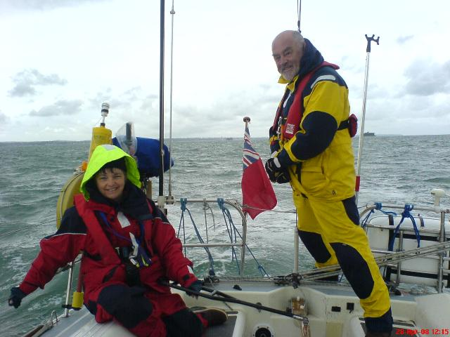 Liz and Brian on passage Portsmouth to Ramsgate.
