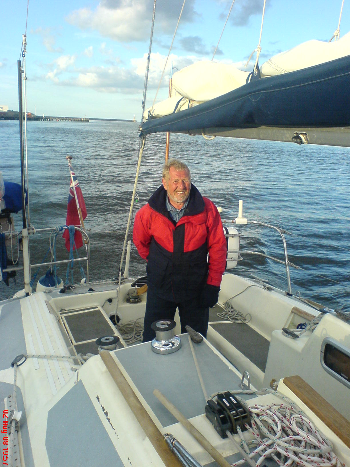 Tony at helm entering River Tyne. Whitby to Northshields.