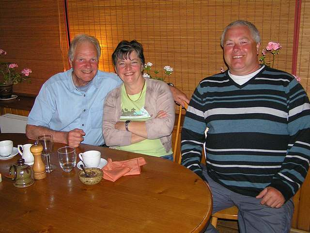 Ray, Liz and Steve enjoy a meal at Fins Fish Restaurant.