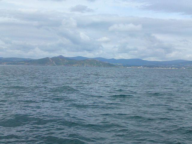 Coast leaving Dublin Bay, Wicklow Mountains.
