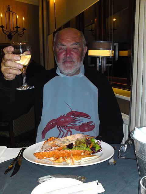 Brian enjoying his lobster at Corkers.