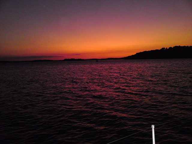 Sunset over Brownsea Island, Poole Harbour.