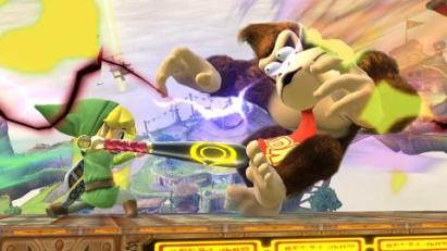 Donkey Kong gets hit by the Home Run bat in Super Smash Bros Wii U