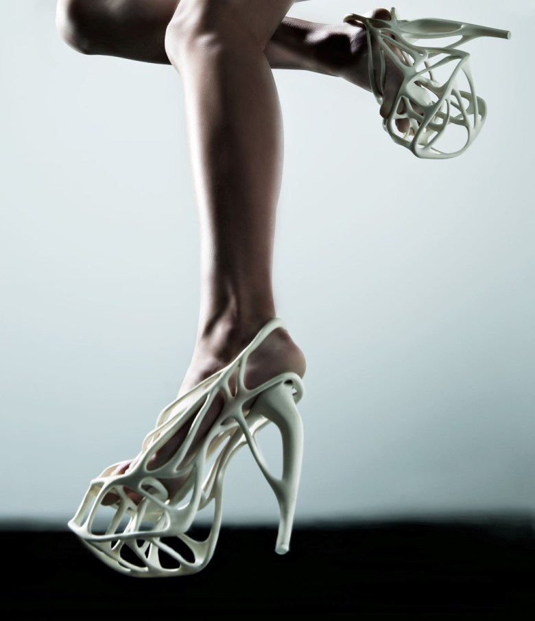 Shoes created by 3D printing.