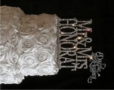 Affordable Crystal Monogram Cake Toppers   Crystal Cake Banding     Mr   Mrs Name Crystal Rhinestone Wedding Cake Topper