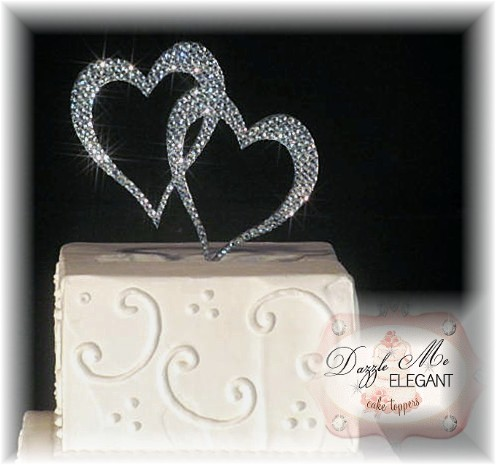 Heart Wedding Cake Toppers Double Heart Crystal Rhinestone Wedding Cake Topper