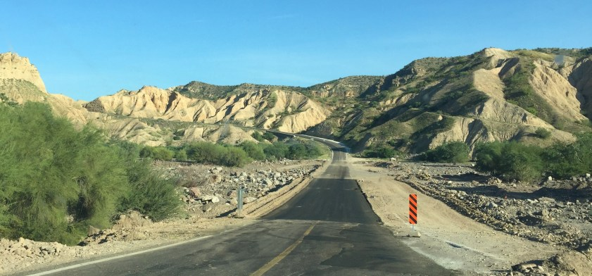 Mexican roads can be treacherous at best. This is an area that was washed out during Tropical Storm Lidia in September.