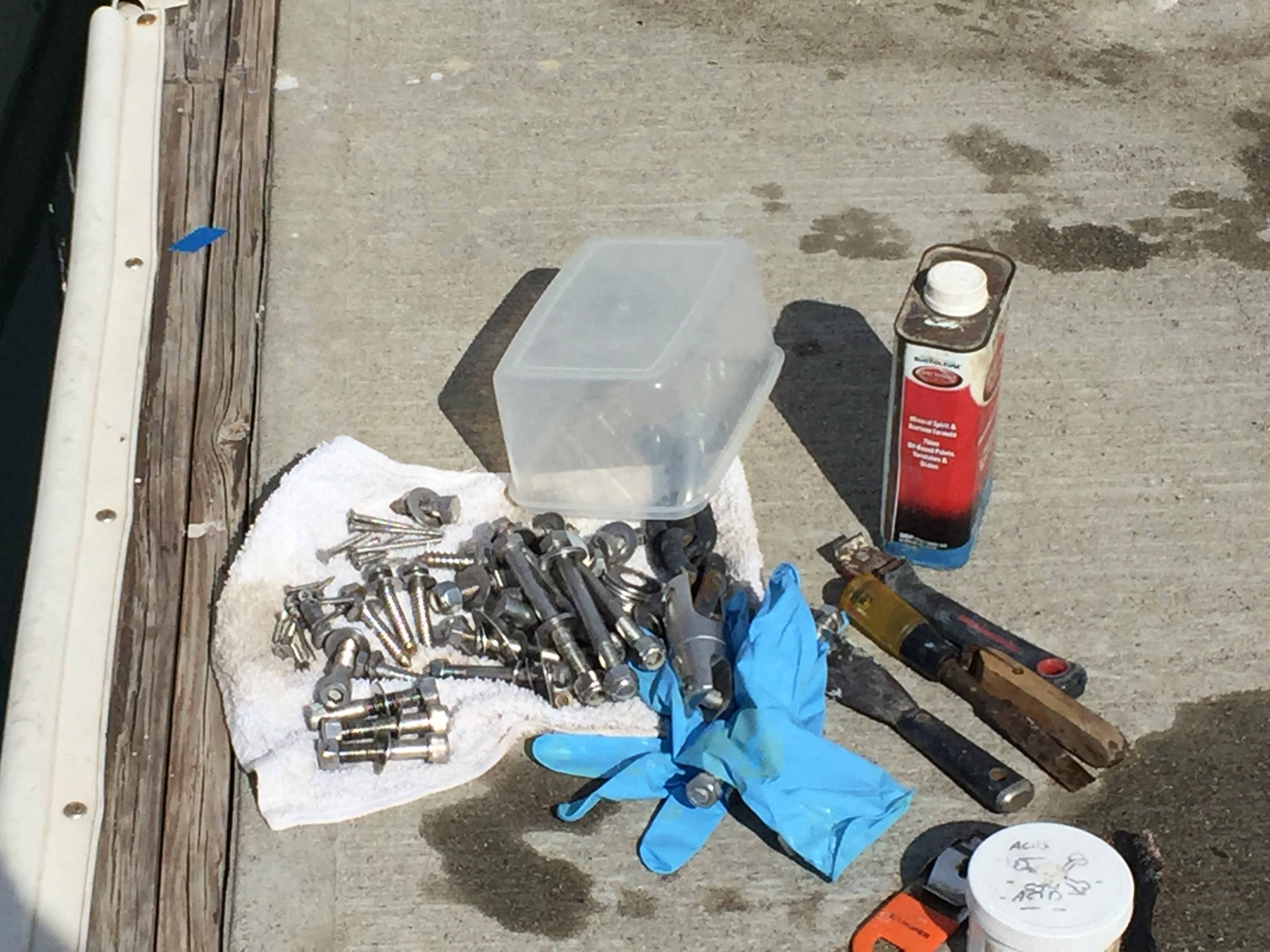 Just one of the many containers of cleaned fasteners.