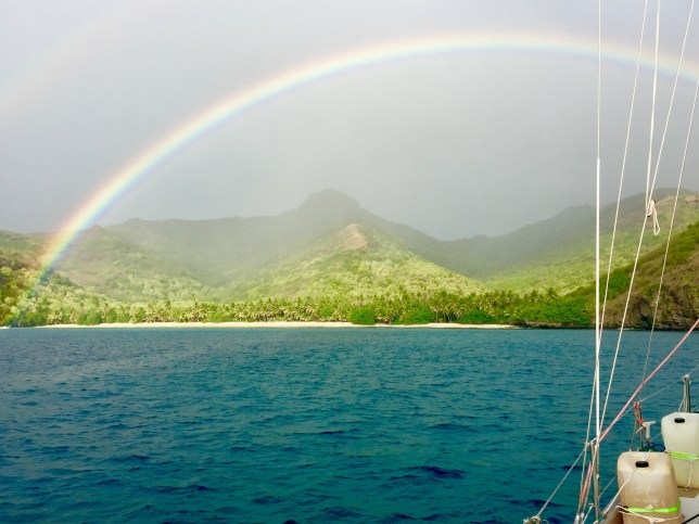 We came in to the most beautiful rainbow. It's the first time I've ever seen the ends. They literally dipped into the water and you could see them ten feet below the surface!