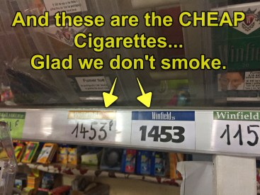 That's $14.53 USD per pack of no name brand cigarettes. If you smoke, bring your own!