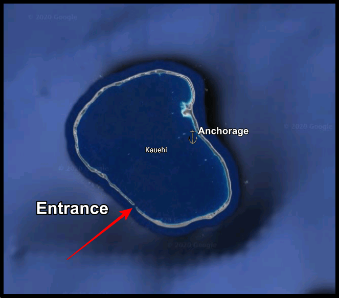 Google Map of the atoll of Kauehi