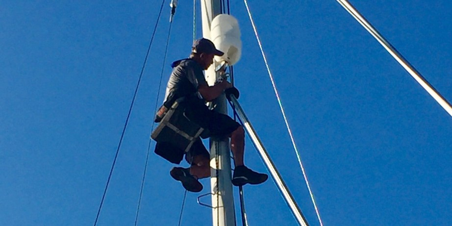 Professional rigger checking the rigging on Dazzler