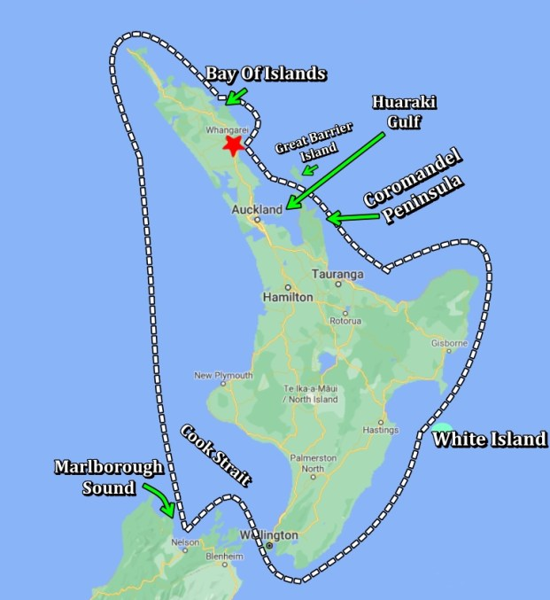 Map of route around north island