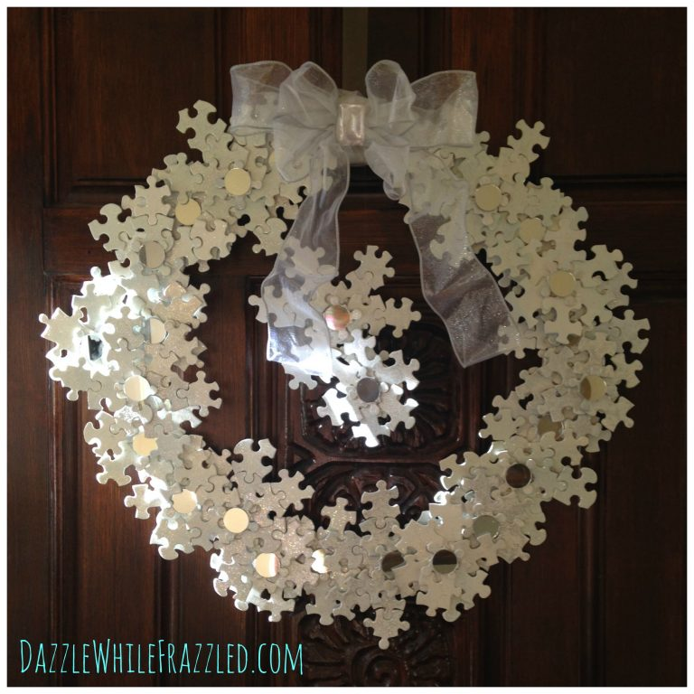 Use leftover puzzle pieces to make a snowflake wreath | DazzleWhileFrazzled.com
