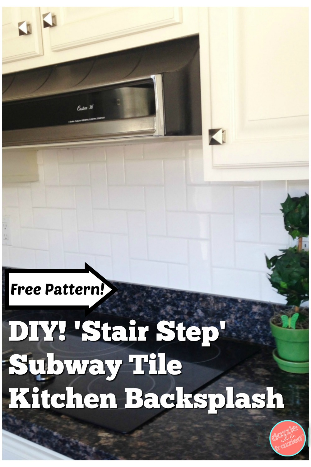 DIY stair step subway tile kitchen backsplash with free pattern download.